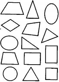 Раскраски фигуры, трапеция, треугольник, эллипс