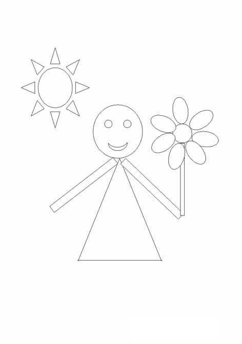 Раскраски из фигур, девочка с цветочком