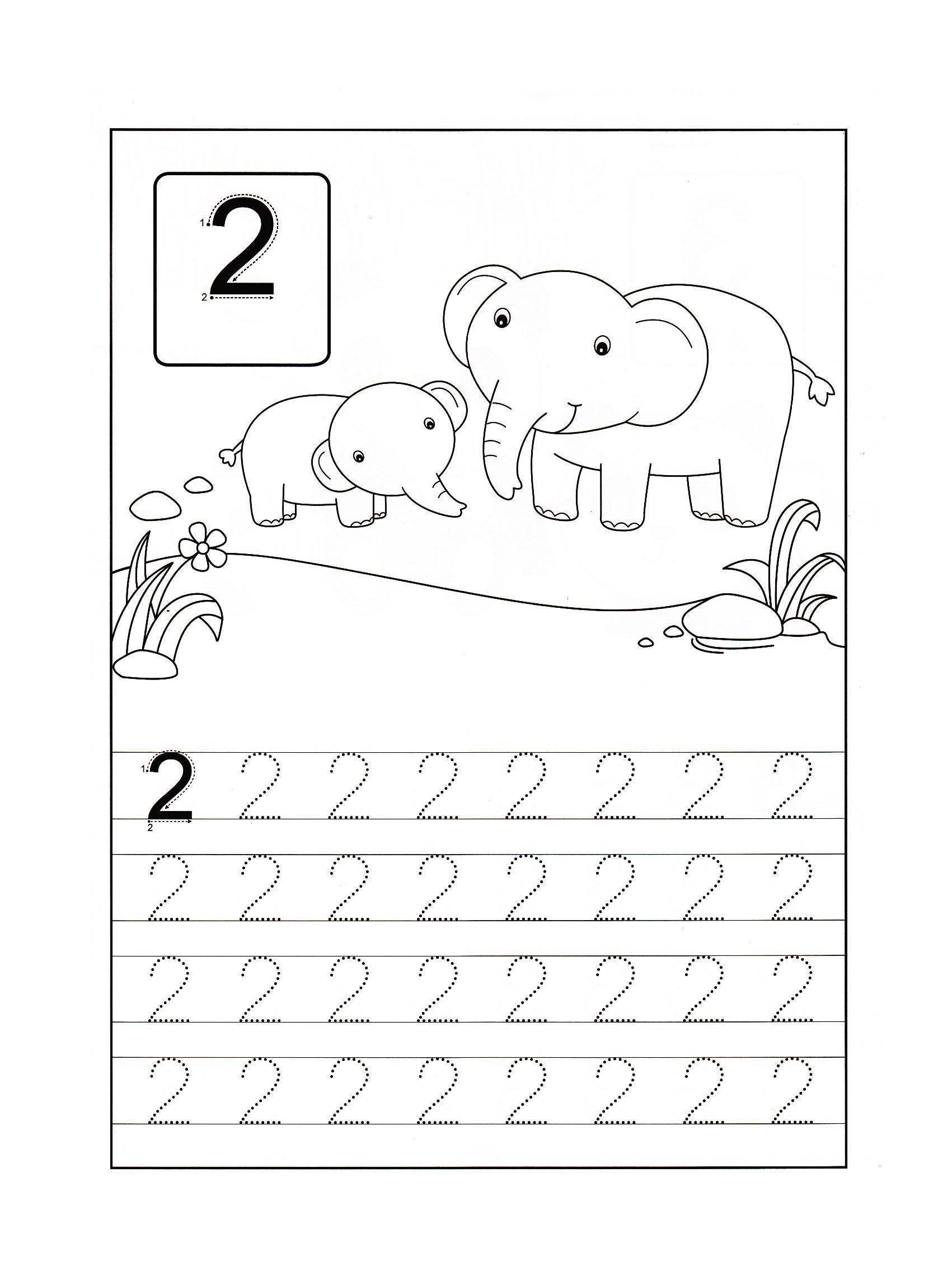 Цифра 2, раскраска два слоненка