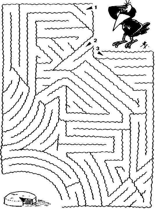 Раскраски лабиринты, путь вороны к сыру