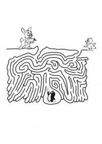 Раскраски лабиринты с кроликом птичкой и кротом