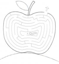 Раскраски лабиринт червячок в яблочке