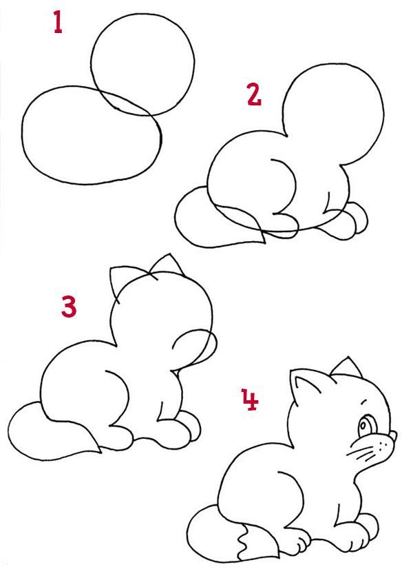 Как нарисовать для детей котенка