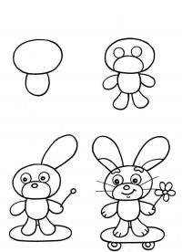 Как нарисовать для детей зайчика