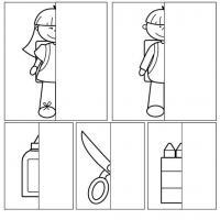 Дорисуй половинки девочки, мальчика, клея, ножниц, карандашей
