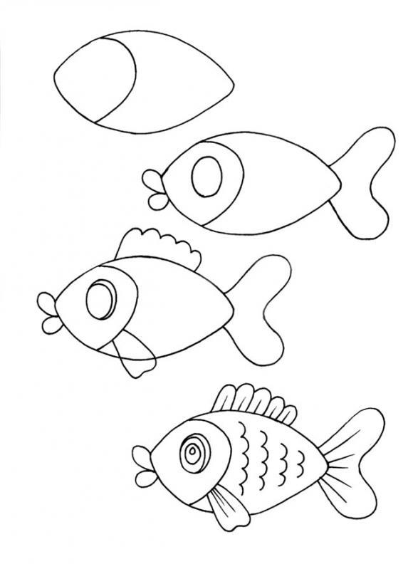 Как нарисовать для детей рыбку