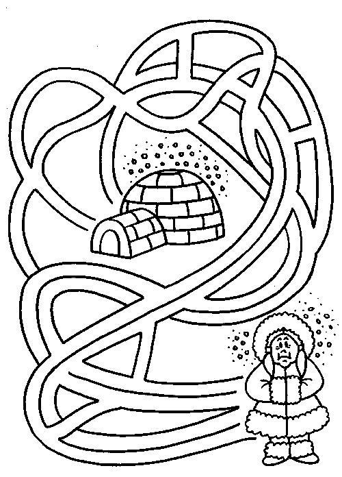 Раскраски лабиринты с эскимосом