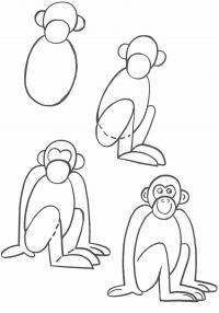 Как нарисовать для детей обезьяну