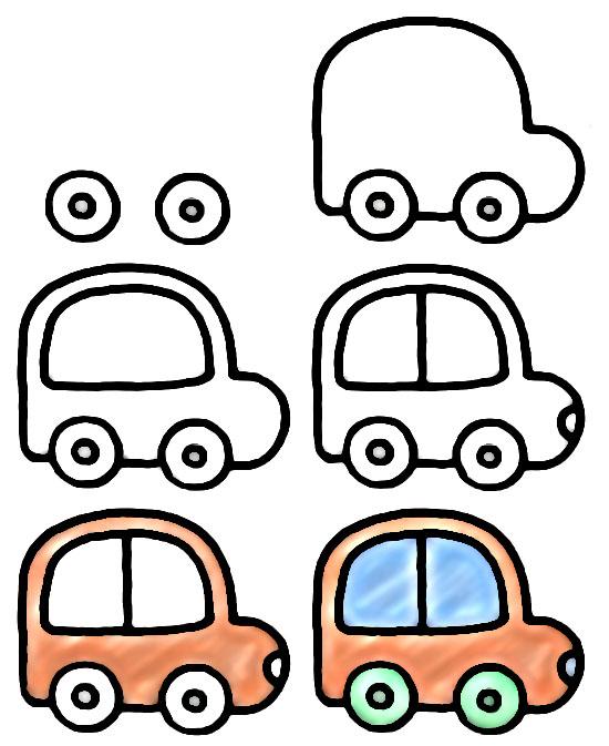 Как нарисовать для детей машинку