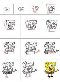 Как нарисовать для детей губку боба
