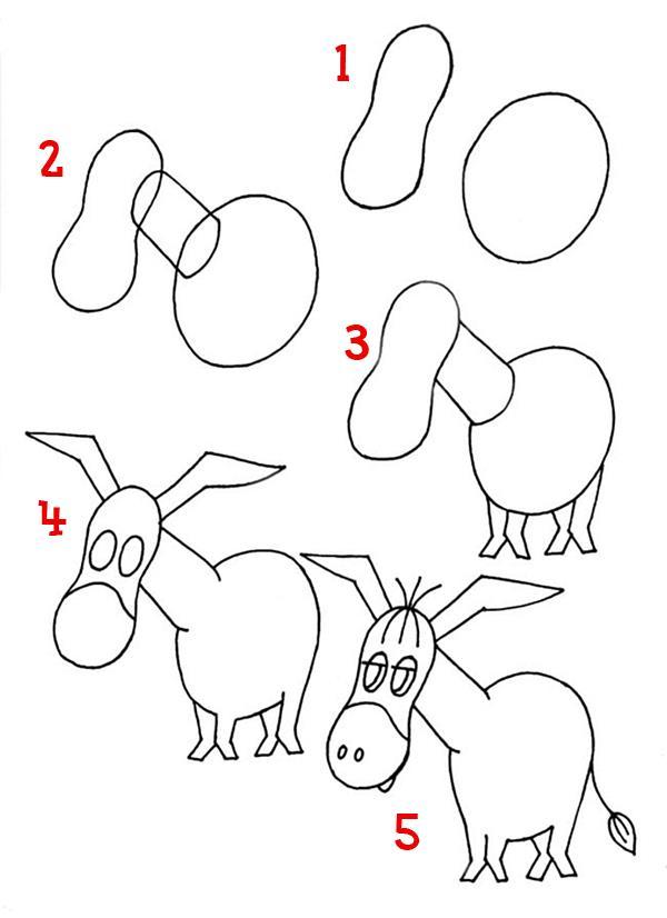 Как нарисовать для детей ослика поэтапно