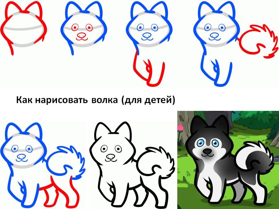 Как нарисовать для детей волка