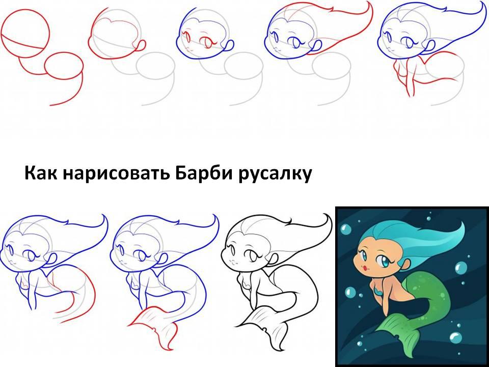 Как нарисовать для детей барби русалку
