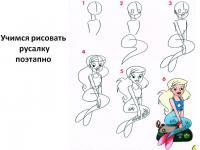Как нарисовать для детей русалку поэтапно