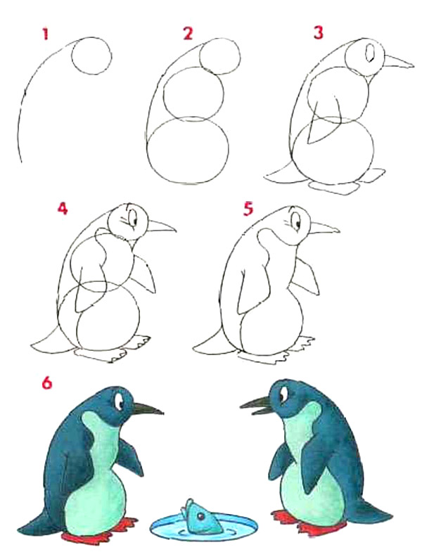 Как нарисовать для детей пингвина поэтапно