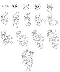Как нарисовать для детей деда мороза поэтапно