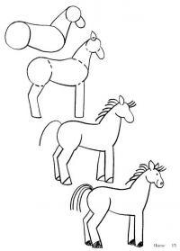 Как нарисовать для детей лошадь по этапно
