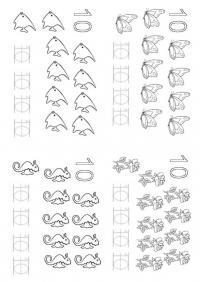 Прописи цифра 10 с раскрасками бабочки, рыбки, розы, улитки