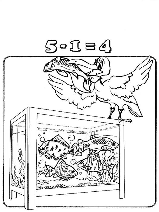 Раскраски учимся считать, вычитание, рыбки и пеликан