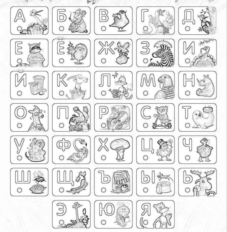 Буквы раскраски, алфавит в картинках