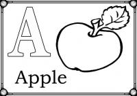 Раскраски алфавит, буква а, яблоко
