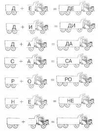 Прописи слоги, де, ди, да, са, ро, не, грузовик