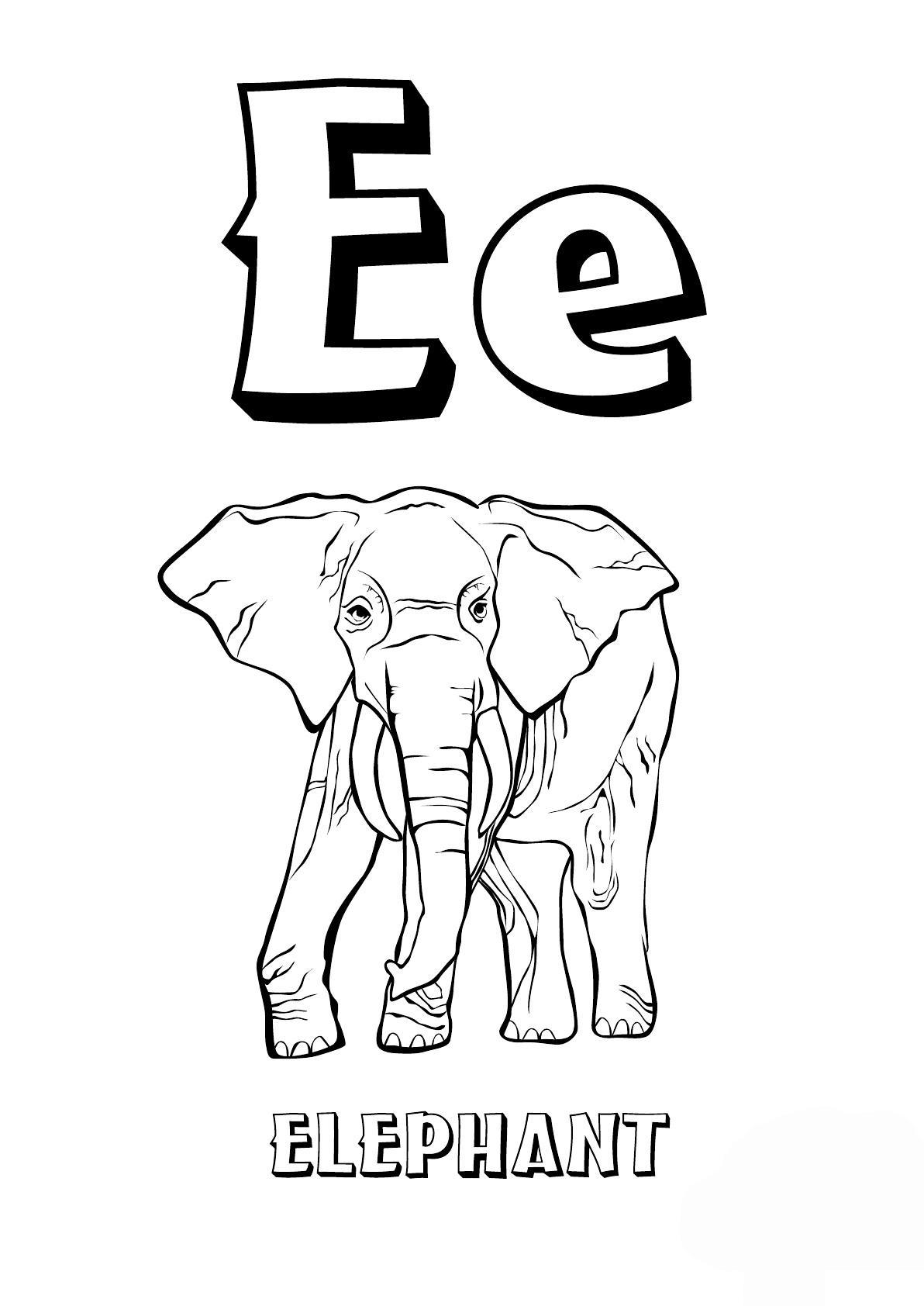 Раскраски алфавит, буква е, слон