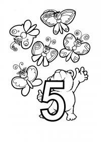 Раскраски счет, цифра 5, бабочки и медведь