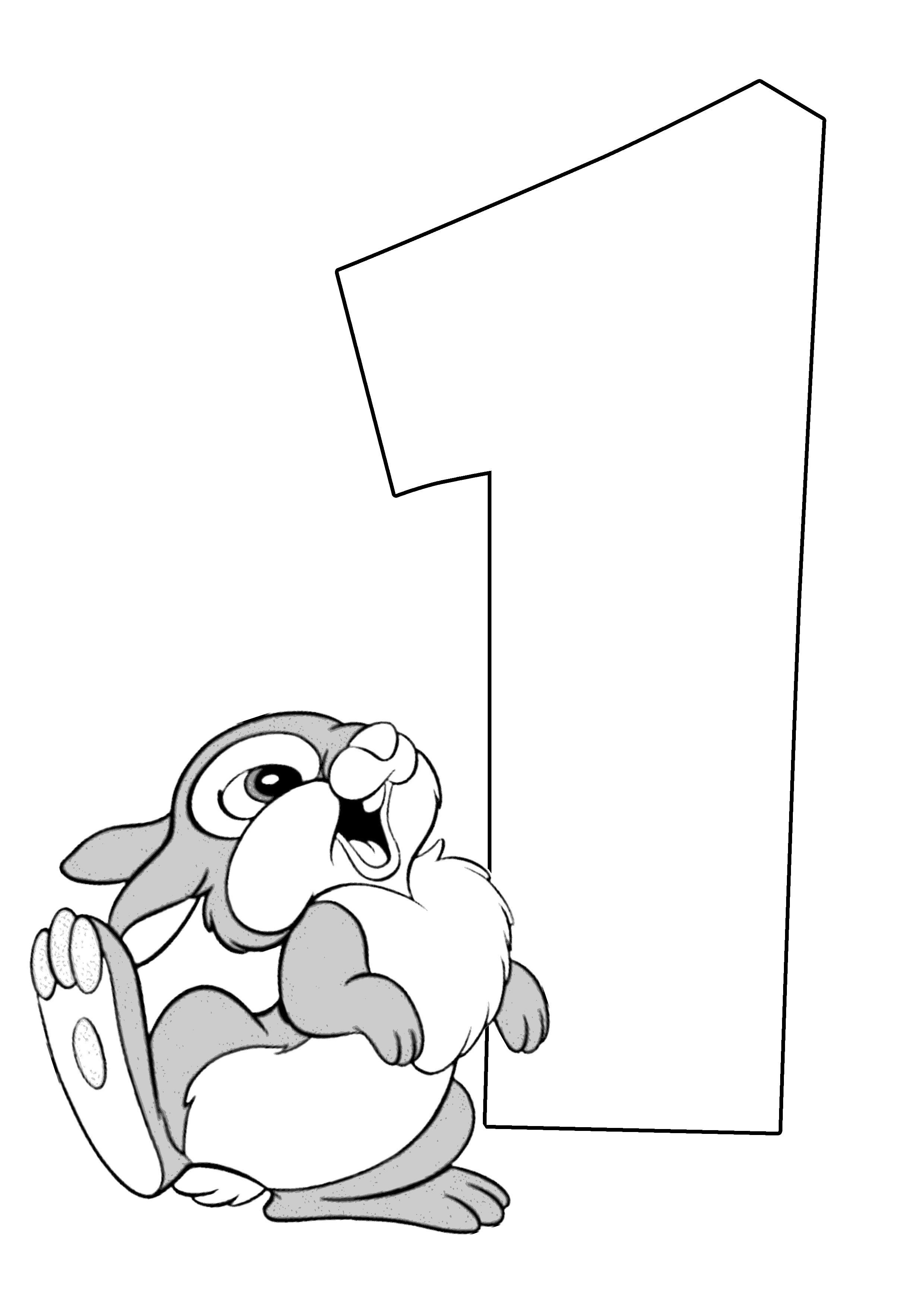 Раскраски счет, цифра 1 и кролик