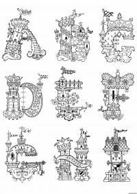Раскраски алфавит, английские буквы в виде дворцов