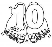 Раскраски счет, цифра 10, десять пальцев