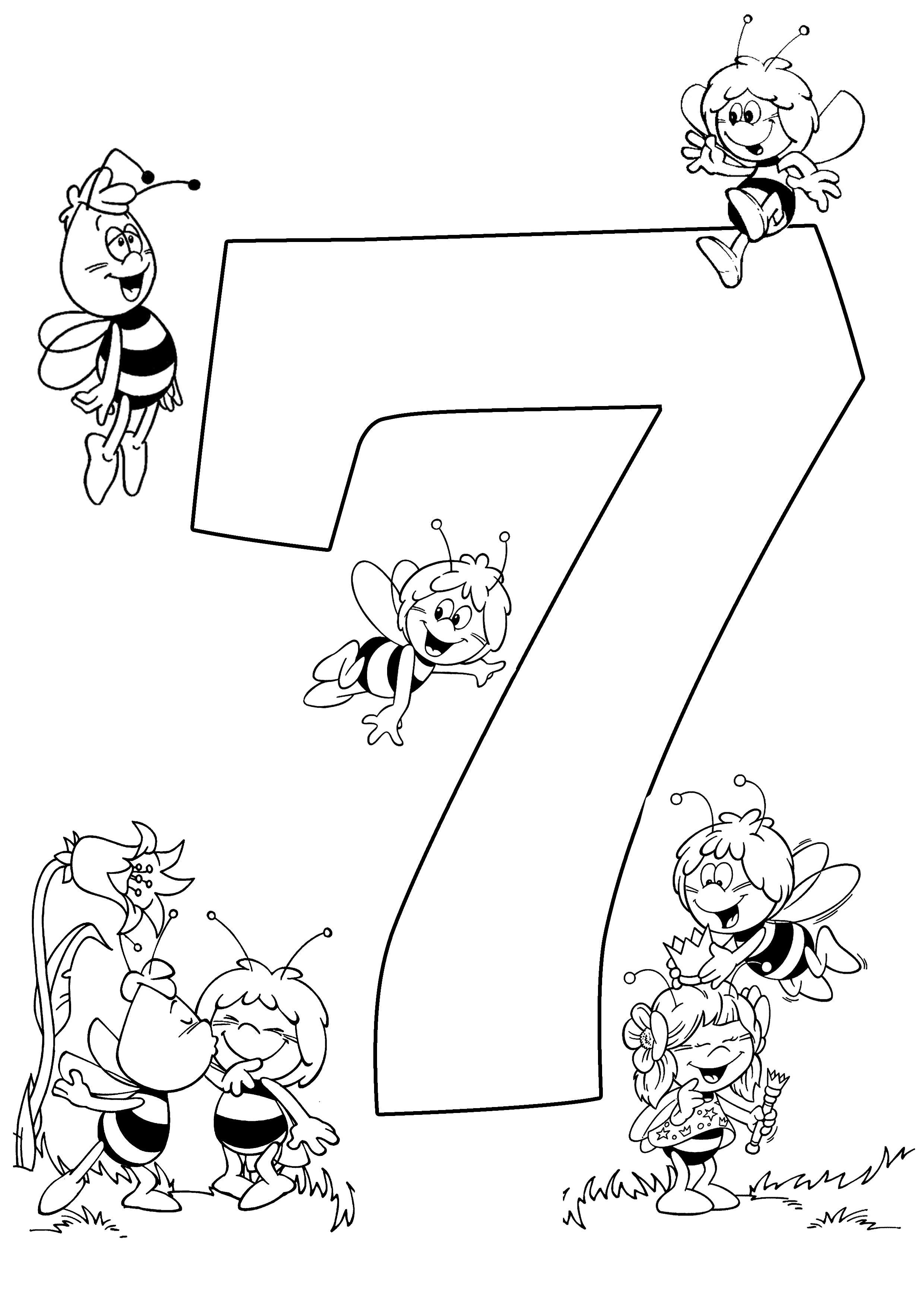 Раскраски счет,  цифра 7, пчелки