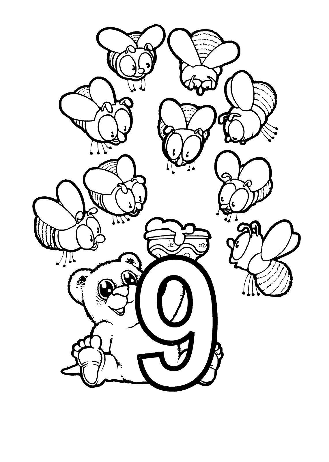 Раскраски счет, цифра 9, пчелки