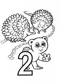 Раскраски счет, цифра 2, два ежа и медвежонок