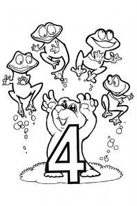 Раскраски счет, цифра 4, лягушата и медвежонок