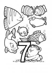 Раскраски счет, цифра 7, рыбки с медвежонком