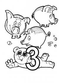 Раскраски счет, цифра 3, поросята, медвежонок