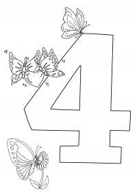 Раскраски счет, цифра 4, 4 бабочки