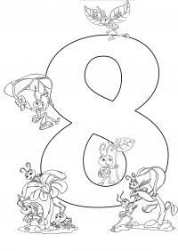 Раскраски счет, цифра 8 с муравьями