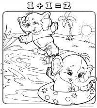 Раскраски счет, сложение, слонята