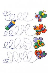 Прописи для самых маленьких, рисуем узоры, дорожки бабочки