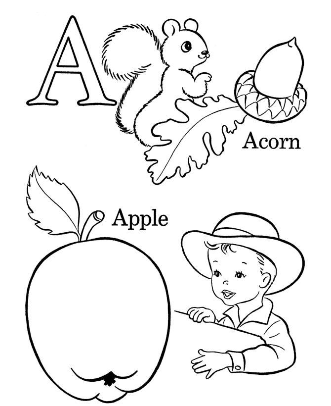Буква а, желудь, яблоко