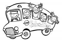 Обучающие раскраски, школьный автобус