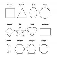 Раскраски формы, квадрат, треугольник, овал