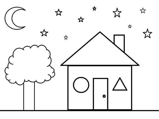Раскраски формы, дом и звездное небо