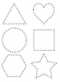 Раскраски формы, треугольник, сердце, круг