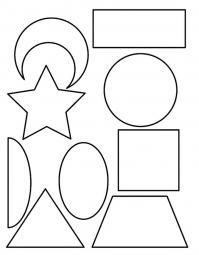Раскраски формы, месяц, прямоугольник, звезда