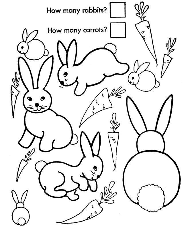 Учимся считать, посчитай сколько кроликов и сколько морковок