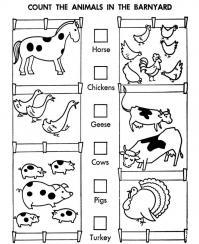 Учимся считать, сколько всего зверей на ферме