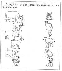 Соедени стрелками животных с их детенышами